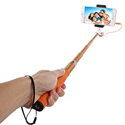 Selfie Stick, HAWEEL Wired Extendable Handheld Selfie Monopod with Tripod Holder Clamp Mount for iPhone 7 Plus / 7 / 6 Plus / 6 / 5 / 5s / 5c, and Android Phones, Orange