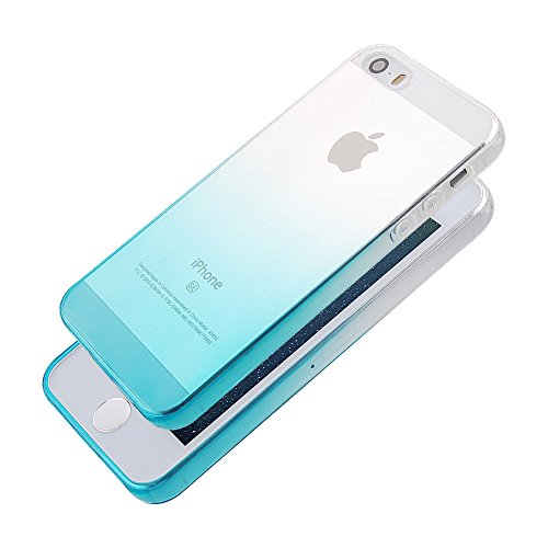 Pridot Gradient Colour TPU Custodia Case for iPhone SE 5S 5 Ultra Thin Caso Anti Slip Soft Bumper Scratch Resistant Back Cover Crystal Clear Flexible Silicone Case - Blue Sky