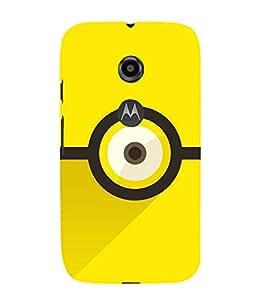 ANIMATED CARTOONISH EYE IN A YELLOW BACKGROUND 3D Hard Polycarbonate Designer Back Case Cover for Motorola Moto E2 :: Motorola Moto E (2nd Gen)