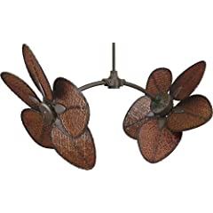 Fanimation FP7000OB Caruso Bronze Outdoor Dual 52 Ceiling Fan with Wall Ctrl & CAISD4A Woven Bamboo Blades