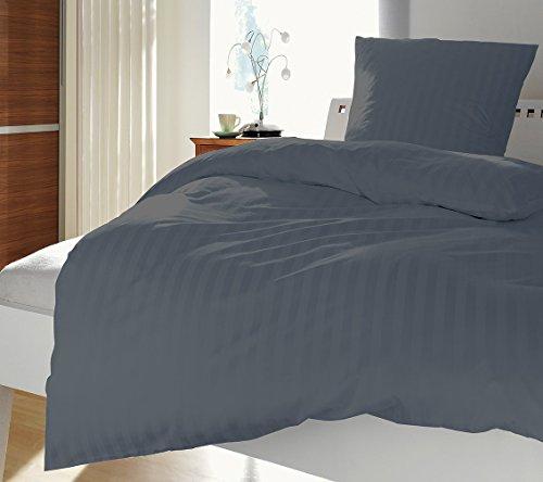Luxus-Damast-Bettwsche-Set-Uni-135x200-cm-Grau-Anthrazit-Gefertigt-aus-100-feinster-Baumwolle-mit-Reiverschluss-Exklusiver-eleganter-Hotel-Bettbezug-mit-leichtem-Glanz-fr-das-ganze-Jahr