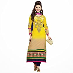Pavani Women's Georgette Semi Stitched Dress Material (D1500119_Yellow_Free Size)