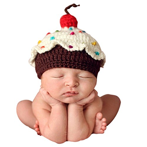 Ownmagi Newborn Baby Crochet Knit Cupcake Beanie Hat Photography Prop Costume