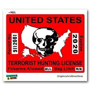 Terrorist Hunting License Permit Red - 911 - Window Bumper Locker Sticker