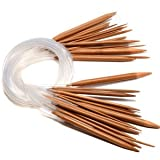 "18 Set Bamboo Circular Knitting Needles Pins 32"" 80cm length 2.0mm-10mm size"