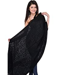 Exotic India Black Stole From Kashmir With Ari Embroidered Paisleys By H - Black