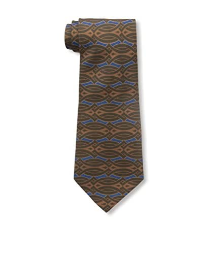 Hermès Men's Pre-Owned Patterned Silk Tie, Brown