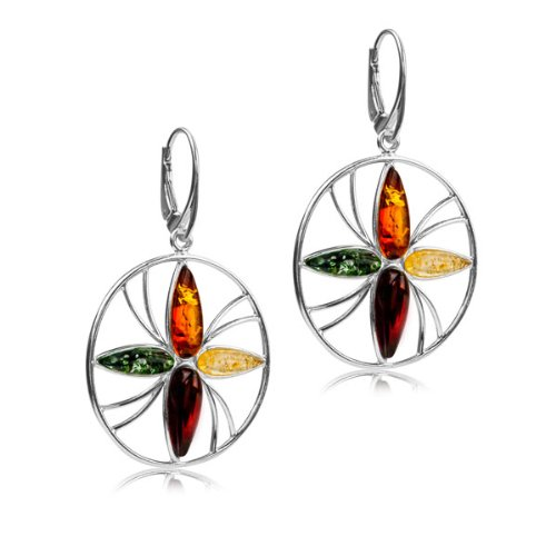 Multicolor Amber Sterling Silver Flower Simbol of Life Leverback Earrings