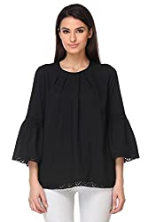 KAARYAH - Black Full Sleeves Relaxed Fit Top