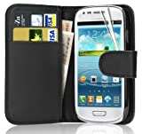 Leather Wallet Flip Case Cover for Samsung Galaxy Young GT-S6310 Young Duos GT-S6312 (Black)