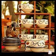 Crawl Print Ceramic Cup Saucer(Set of 6)