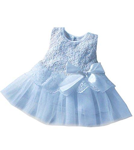 Baby Kids Girls Tutu Dress Princess Party Cute Lace Flower Dresses 0-24M 18-24Months Blue
