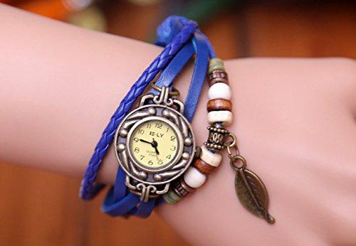 Liroyal Beautylife Weave Wrap Around Leather Bracelet Lady Woman Wrist Watch Blue Leaf