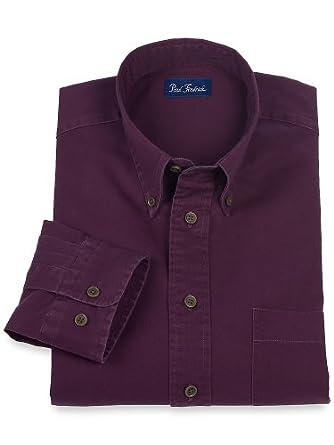 Paul Fredrick Men's Washed Cotton Twill Button Down Collar Sport Shirt Plum Medium