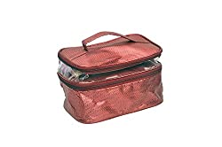 PrettyKrafts Vanity Kit Double Partitions - Multipurpose Travel Case - Make-up kit - Jewellery Organizer - Maroon