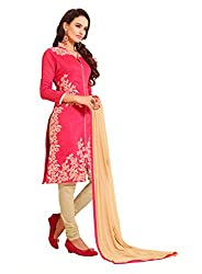Blissta Red Chanderi Embroidered Straight Suit Dress Material