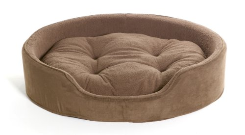 Nap Pet Bed X-Large Snuggle Terry And Suede Oval Pet Bed, Espresso