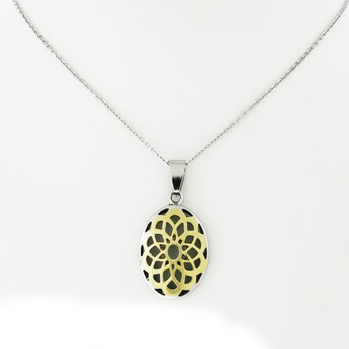 Ladies Two Tone Stainless Steel Oval Pendant