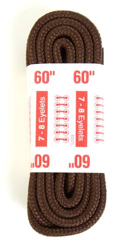 Kiwi Outdoor Nylon Boot Laces, 60-Inch, Round, Brown, 3-Pack
