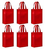 Reusable Gift Bags, Small, Red 6 Pack