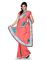 Designersareez Women Faux Georgette Embroidered Onion Pink Saree With Unstitched Blouse(1209)
