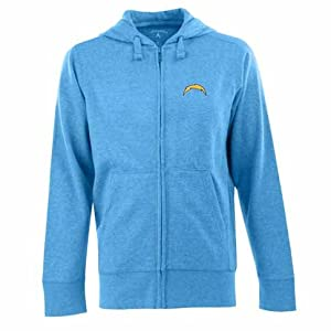 San Diego Chargers Signature Full Zip Hooded Sweatshirt (Alternate Color) by Antigua