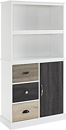 Altra Mercer Storage Bookcase with Multicolored Door and Drawer Fronts, White Altra 3 Shelf Bookcase