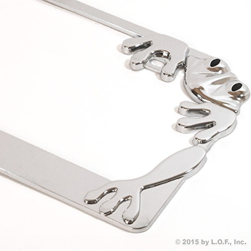 Chrome Frog License Plate Frame Tag Animal Metal Holder Car Truck Auto Cover
