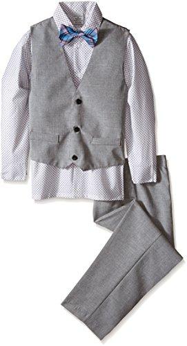 Perry Ellis Big Boys' Slub End-On-End Vest Set, White, 10