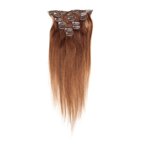 Decus Echthaar Clip in Extensions Remy Haarverlängerung glatt Straight Clip On Hair (14 inch 70g, #4 Medium Brown)