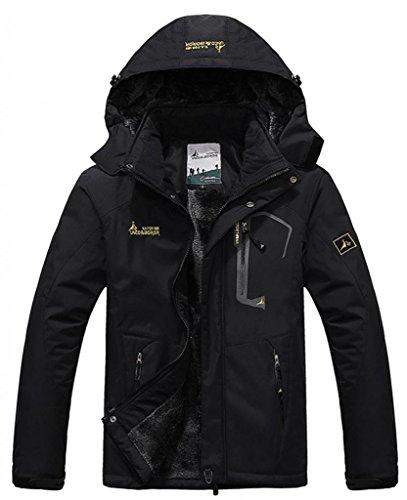 Zando Men's Windproof Mountain Hooded Outdoor Fleece Jacket(Black-thicker ver, US 3XL)