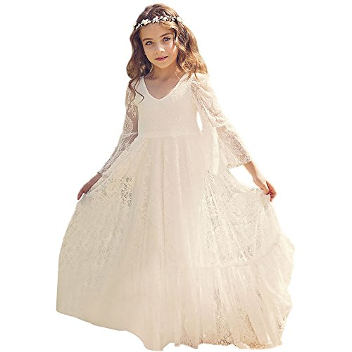 Bohemian Country Beach Long Lace Flower Girl Bohemian Dresses with Sleeves 1