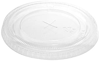 "IFN Green 25-1198-X Green Ease PLA Flat Lid with X-Slot, 3.96"" Diameter x 0.37"" Height, For 9, 12, 16, 20 and 24 oz Cold Cups (Case of 1000)"