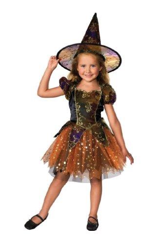 Morris Costumes Elegant Witch Child Medium Multicolor Dress W/ Gold Glitter front-691972