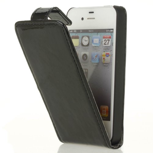 Black Genuine Patent Leather Flip-in Case Cover for iPhone 4/4S w/ Gift Box