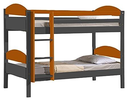 Design Vicenza Maximus Bunk Bed 3ft Graphite With Orange Details