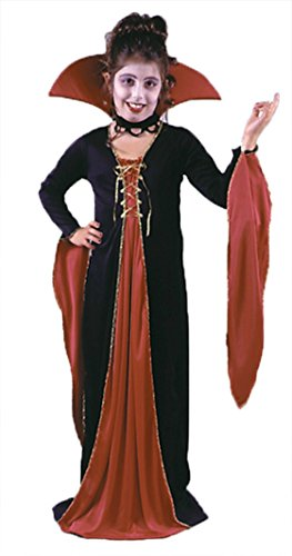 Girls Victorian Vampiress Kids Child Fancy Dress Party Halloween Costume