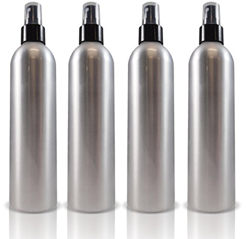 8oz Large Bullet-style Aluminum Fine Mist Spray Aluminum Atomizer Bottles: 4-pack