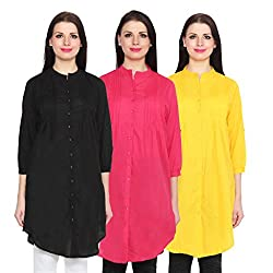 NumBrave Black, Darkpink & Yellow Long Cotton Top (Pack of 3)