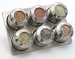 Lipper See & Store Stainless Steel Collection Spice Rack With Set Of 6 Magnetic Backed Containers