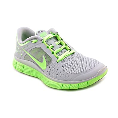 Nike Women's NIKE FREE RUN+ WMNS RUNNING SHOES 5.5 (WOLF GREY/ELECTRIC GREEN )