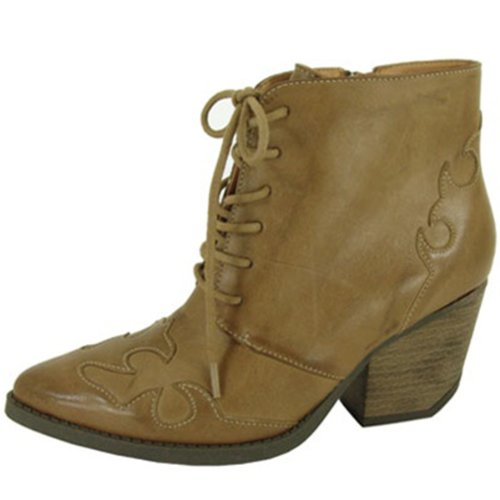 Qupid Taupe Burnish Western/cowboy Ankle Boots with Laces and Zippers Qunewton-08