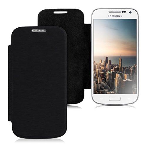 kwmobile フリップスタイル ケース カバー Samsung Galaxy S4 Mini用 ふた付き保護ケース バッグ 黒色