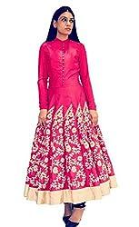 Isha Enterprise Women's Raw Silk Pink Kurti