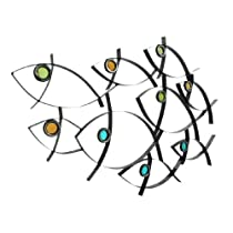 Abstract Metal School Of Fish Wall Hanging Nautical