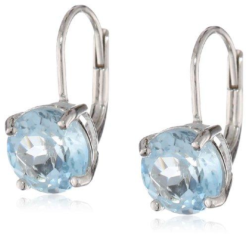 topaz Sterling Silver 8mm Round Blue Topaz Lever Back Earrings