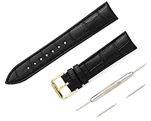 22mm Top-Grain Leather Black Croc Design includes new spring bars, tool, 1-year guarantee, Gold Buckle