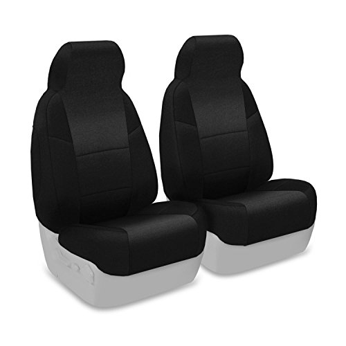 Coverking Custom Fit Front 50/50 Bucket Seat Cover For Select Chevrolet Cruze Models - Velour (Black) front-1063669