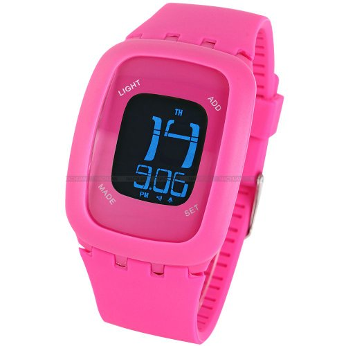 AMPM24 LCD Touch Screen Alarm Date Day Backlight Lady Mens Fuchsia Sport Silicone Watch