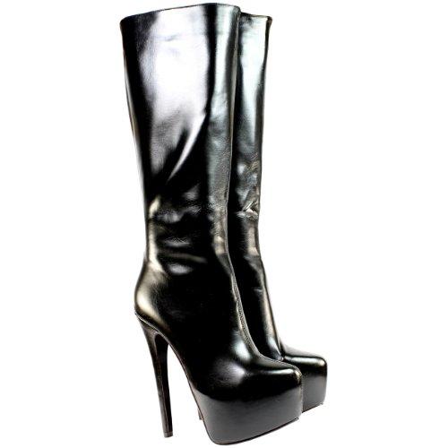High-Heels-Stiefel: Damen Schuhe High Heel Stiletto Pumps Platform Langschaftstiefel Boots - Schwarz - 36